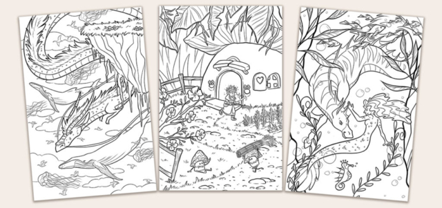Fantasy Colouring Page Cards