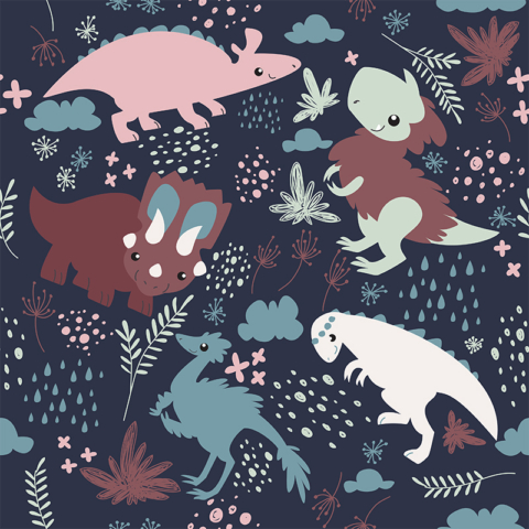 Fluffy Dinosaurs Surface Pattern Design