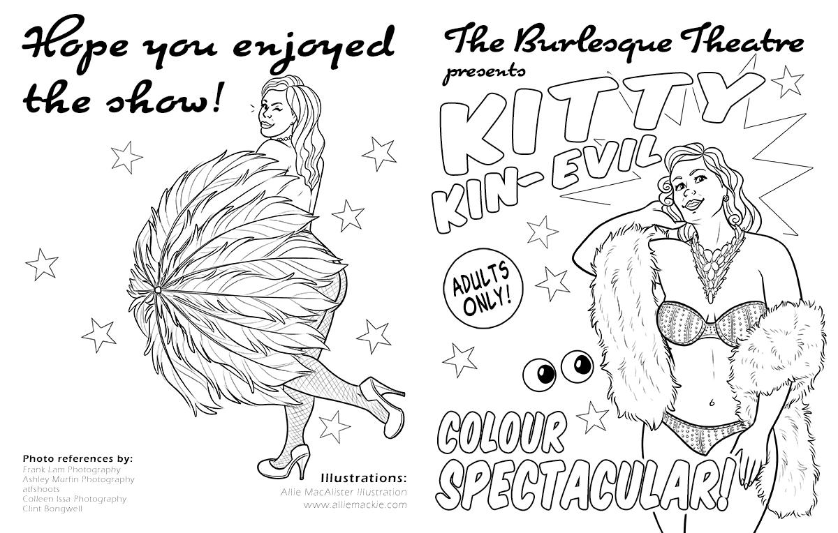 Kitty Kin-Evil Burlesque Colouring Book