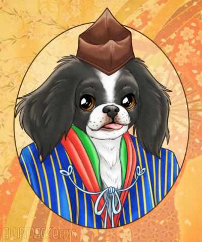 Ichigo - Japanese Chin Historical Pet Portrait
